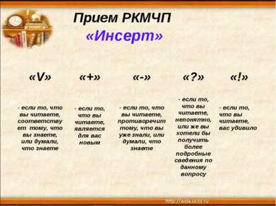 Прием РКМЧП «Инсерт»