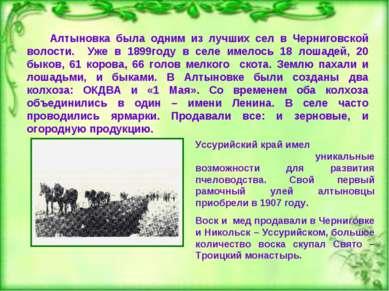 Алтыновка была одним из лучших сел в Черниговской волости. Уже в 1899году в с...