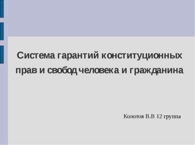Система гарантий конституционных прав и свобод человека и гражданина Колотов ...