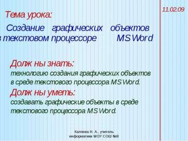 Тема урока: Создание 11.02.09 Должны знать: технологию создания графических о...