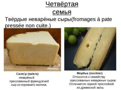 Четвёртая семья Твёрдые неварёные сыры(fromages à pate pressée non cuite.) Са...