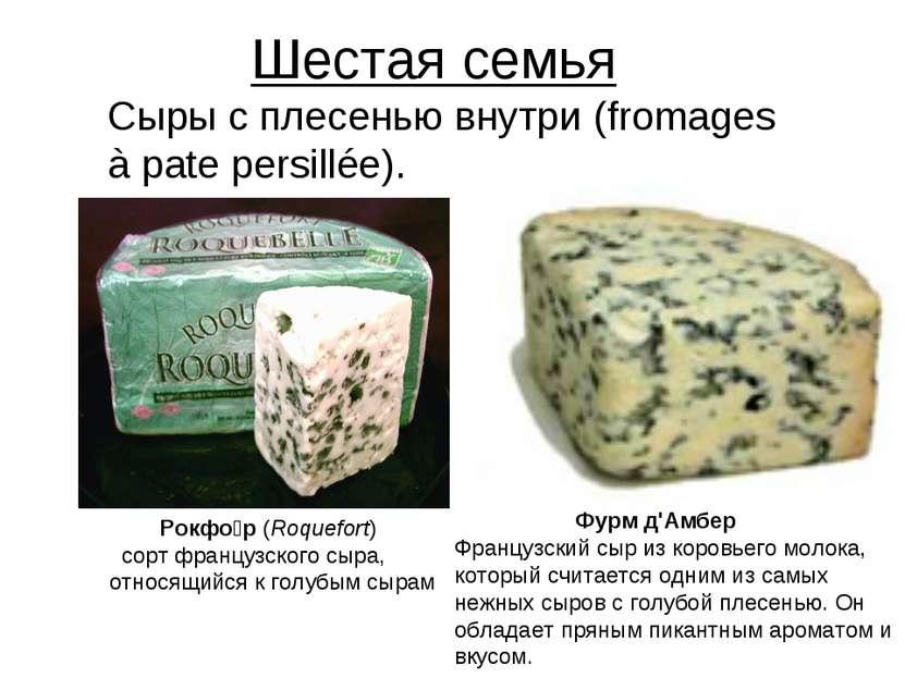 Шестая семья Сыры с плесенью внутри (fromages à pate persillée). Рокфо р (Roq...