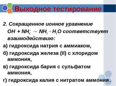 Выходное тестирование 2. Сокращенное ионное уравнение OH- + NH4+ → NH3 · H2 O...