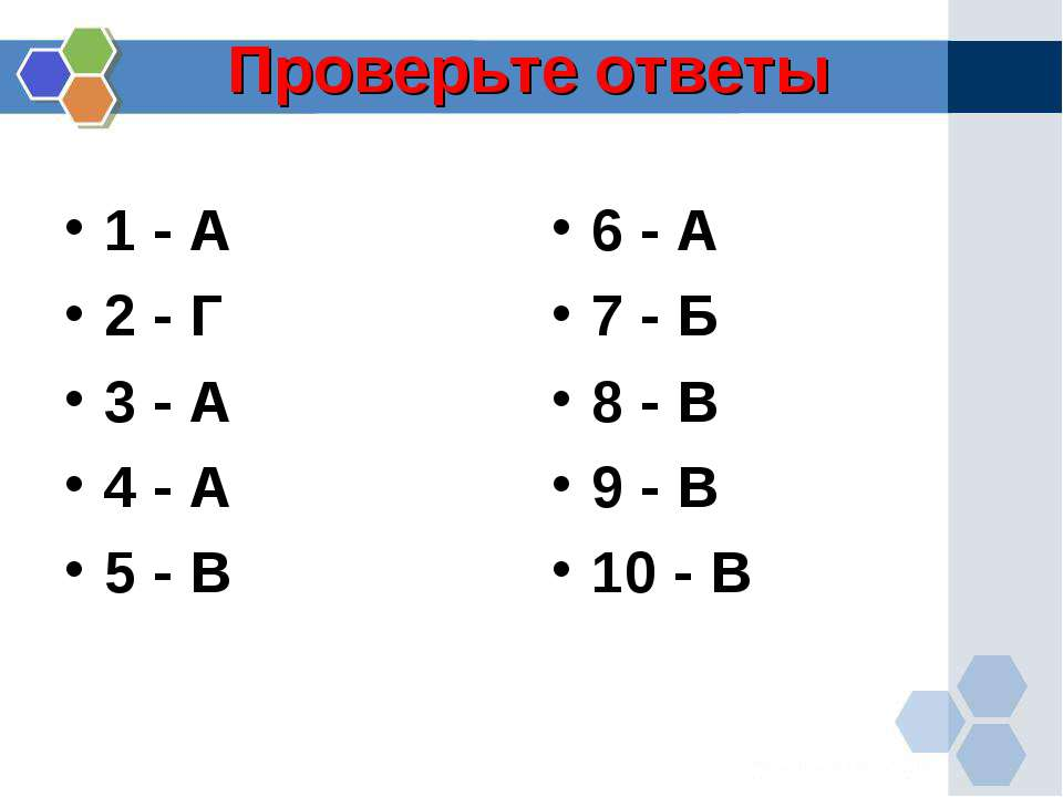 Проверьте ответы 1 - А 2 - Г 3 - А 4 - А 5 - В 6 - А 7 - Б 8 - В 9 - В 10 - В