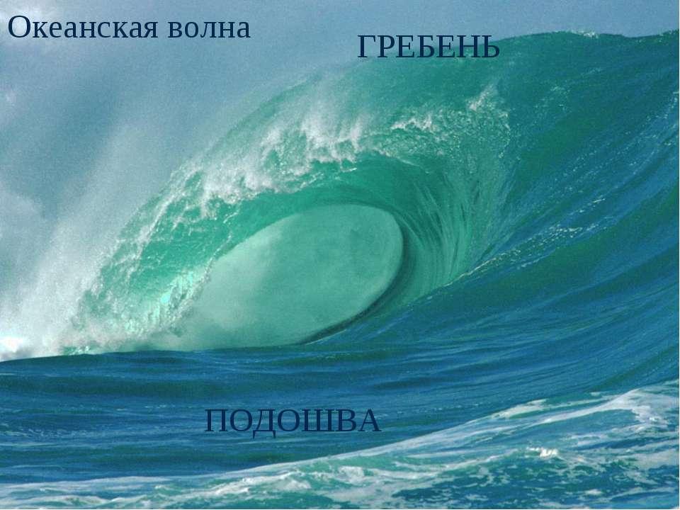 Океанская волна ГРЕБЕНЬ ПОДОШВА