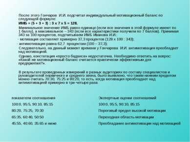 После этого Гончаров И.И. подсчитал индивидуальный мотивационный баланс по сл...