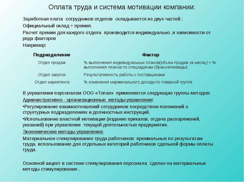 Оплата труда и система мотивации компании: Заработная плата сотрудников отдел...