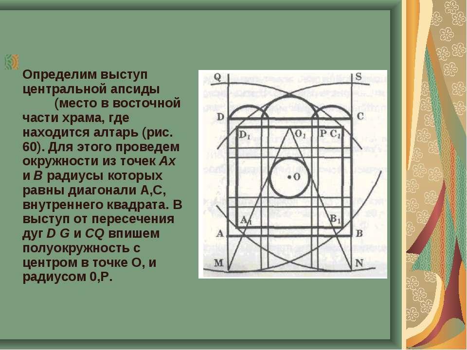 Определим выступ центральной апсиды (место в восточной части храма, где наход...
