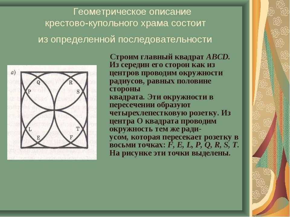 Геометрическое описание крестово-купольного храма состоит из определенной пос...