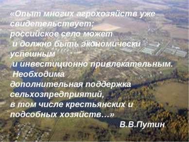 «Опыт многих агрохозяйств уже свидетельствует: российское село может и должно...