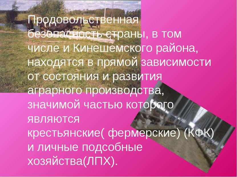 Продовольственная безопасность страны, в том числе и Кинешемского района, нах...