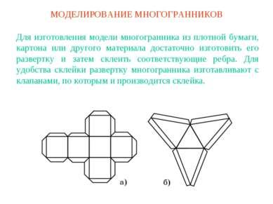 МОДЕЛИРОВАНИЕ МНОГОГРАННИКОВ Для изготовления модели многогранника из плотной...