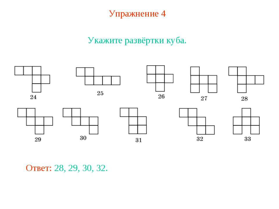 Упражнение 4 Укажите развёртки куба. Ответ: 28, 29, 30, 32.