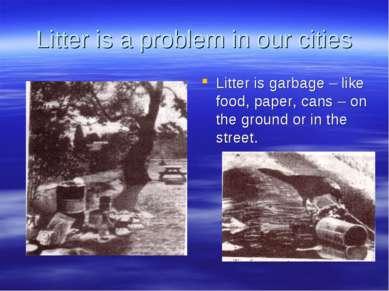 Litter is a problem in our cities Litter is garbage – like food, paper, cans ...