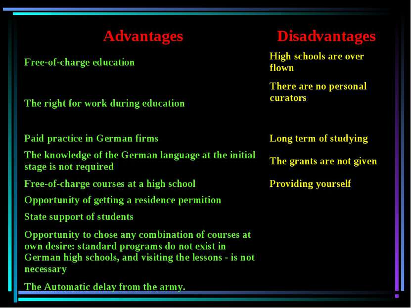 Advantages Disadvantages Free-of-charge education High schools are over flown...