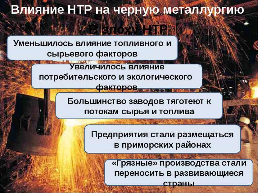 Влияние НТР на черную металлургию В эпоху НТР Уменьшилось влияние топливного ...