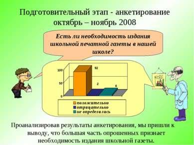 Подготовительный этап - анкетирование октябрь – ноябрь 2008 Проанализировав р...