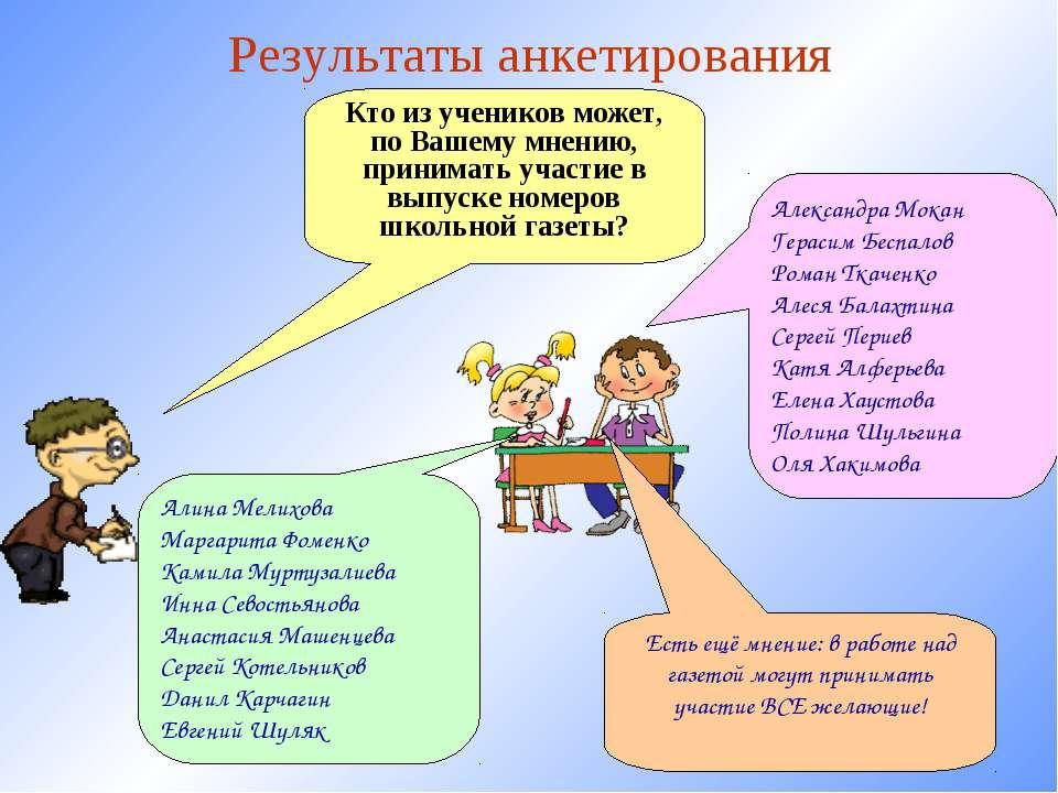 Результаты анкетирования Кто из учеников может, по Вашему мнению, принимать у...