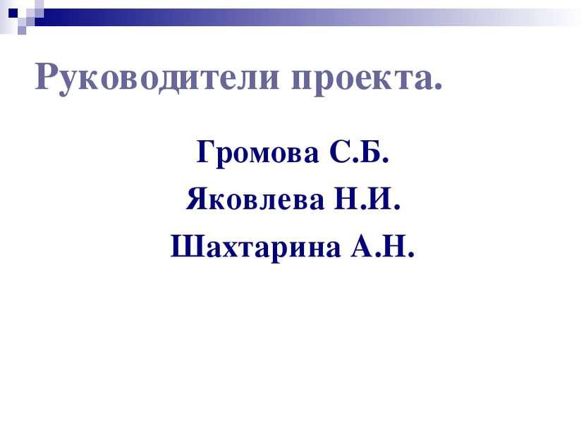Руководители проекта. Громова С.Б. Яковлева Н.И. Шахтарина А.Н.