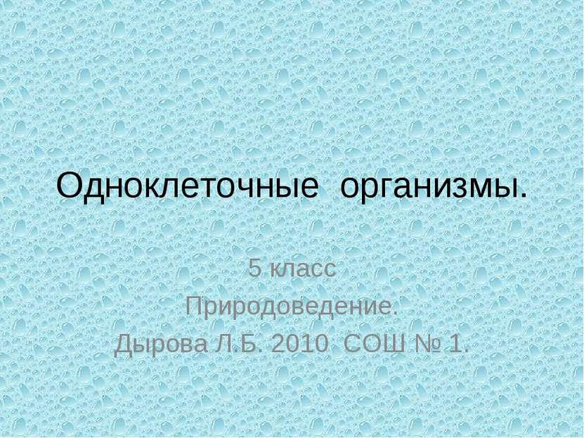 Одноклеточные организмы. 5 класс Природоведение. Дырова Л.Б. 2010 СОШ № 1.