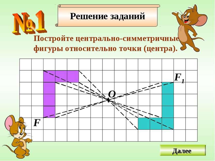 Решение заданий Постройте центрально-симметричные фигуры относительно точки (...