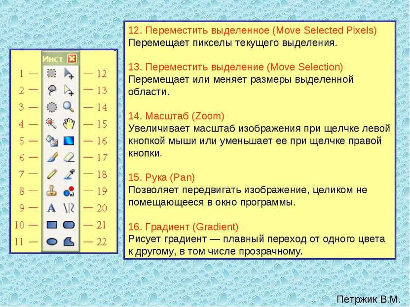 12. Переместить выделенное (Move Selected Pixels) Перемещает пикселы текущего...
