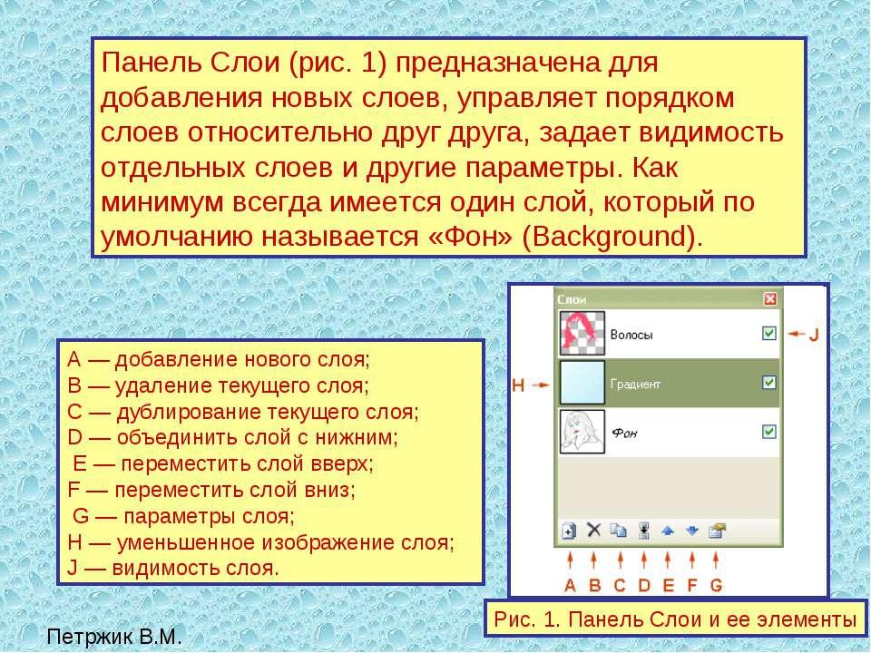 Панель Слои (рис. 1) предназначена для добавления новых слоев, управляет поря...