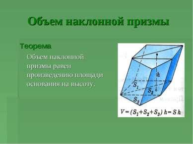 Объем наклонной призмы Теорема Объем наклонной призмы равен произведению площ...