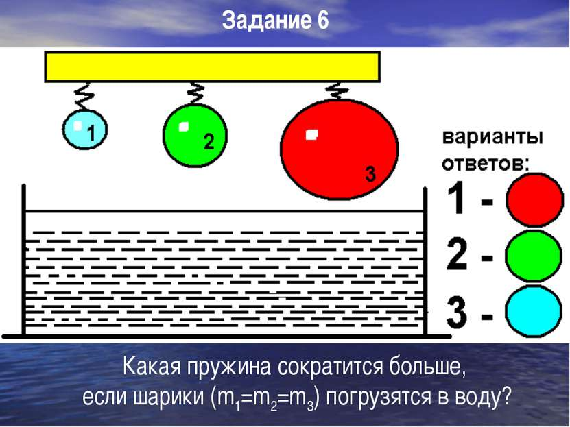 Какая пружина сократится больше, если шарики (m1=m2=m3) погрузятся в воду? За...