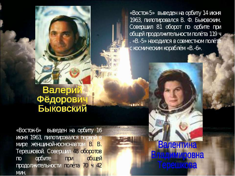 «Восток-6» выведен на орбиту 16 июня 1963, пилотировался первой в мире женщин...