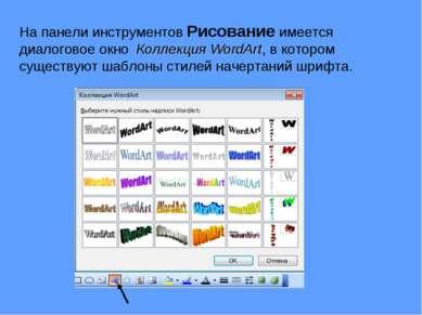 На панели инструментов Рисование имеется диалоговое окно Коллекция WordArt, в...