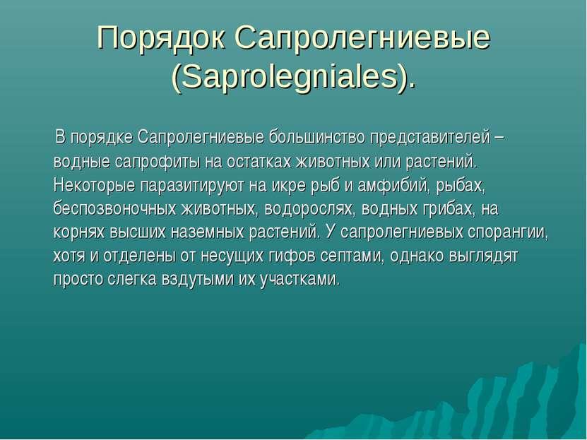 Порядок Сапролегниевые (Saprolegniales). В порядке Сапролегниевые большинство...