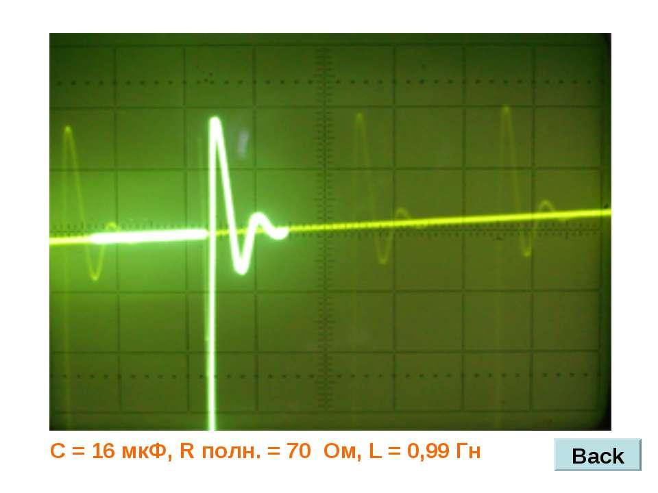 Back С = 16 мкФ, R полн. = 70 Ом, L = 0,99 Гн