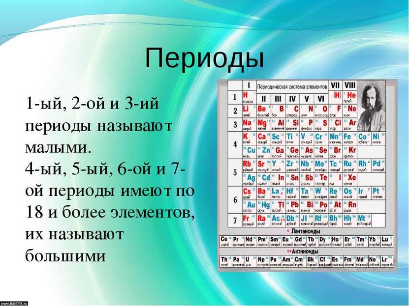 Периоды 1-ый, 2-ой и 3-ий периоды называют малыми. 4-ый, 5-ый, 6-ой и 7-ой пе...