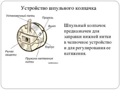 Устройство шпульного колпачка Шпульный колпачок предназначен для заправки ниж...