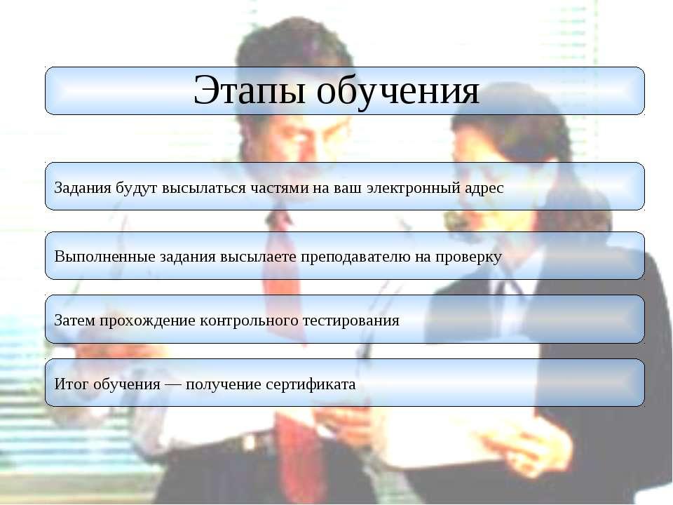 Этапы обучения Задания будут высылаться частями на ваш электронный адрес Выпо...