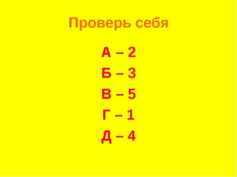 Проверь себя А – 2 Б – 3 В – 5 Г – 1 Д – 4