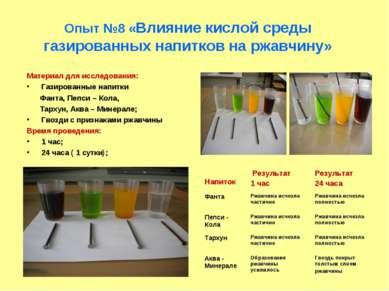 Опыт №8 «Влияние кислой среды газированных напитков на ржавчину» Материал для...