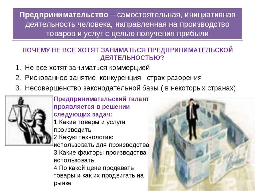 Предпринимательство – самостоятельная, инициативная деятельность человека, на...