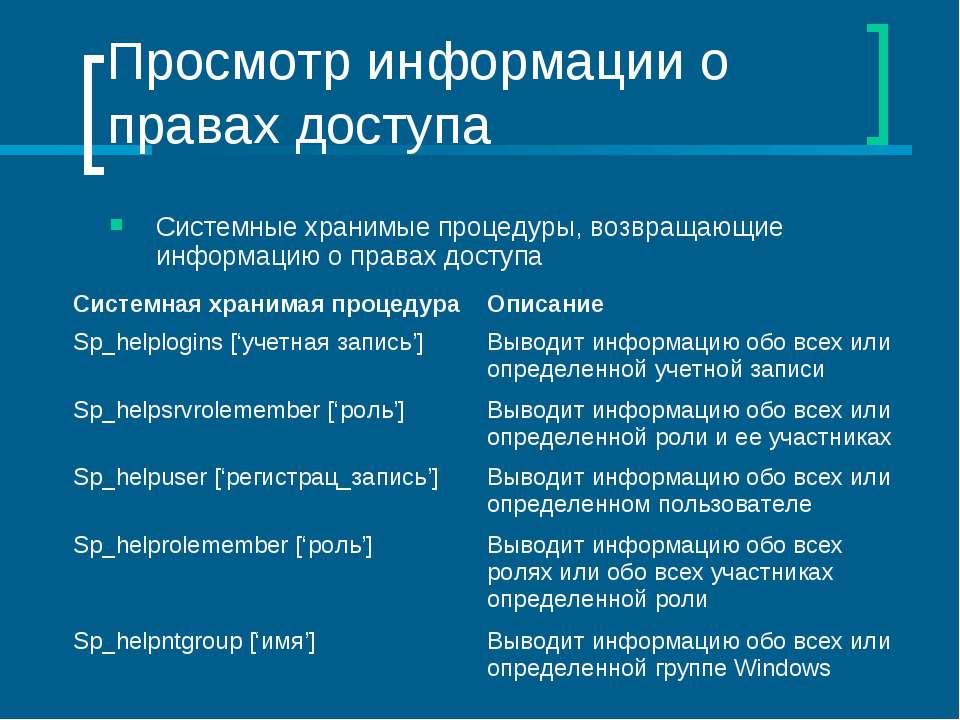 Просмотр информации о правах доступа Системные хранимые процедуры, возвращающ...