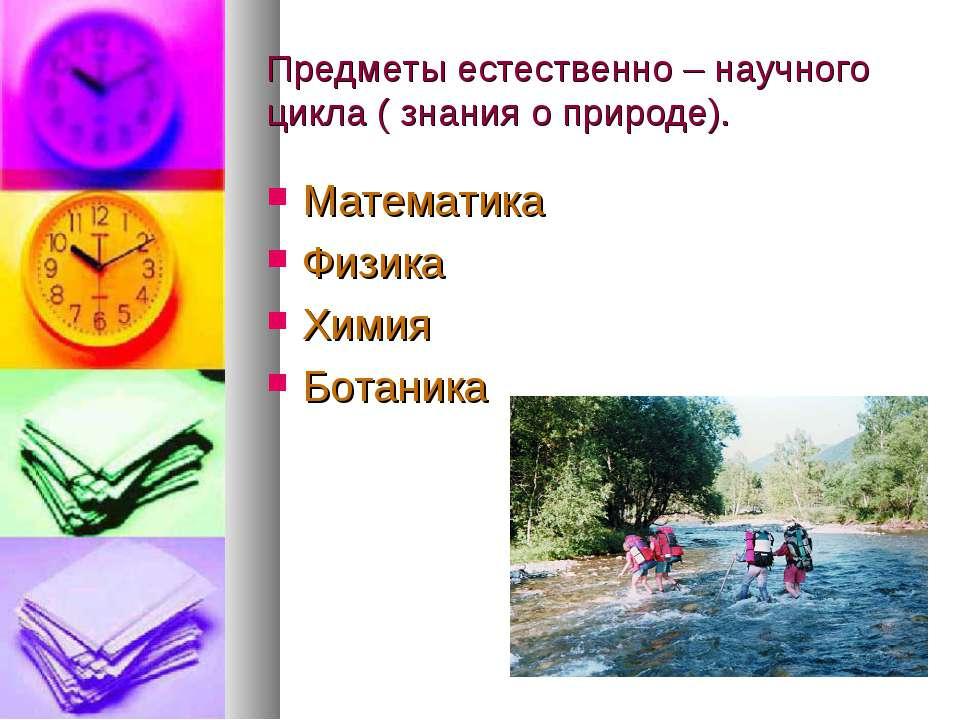 Предметы естественно – научного цикла ( знания о природе). Математика Физика ...