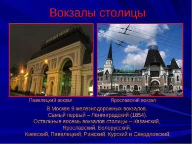 Вокзалы столицы Павелецкий вокзал Ярославский вокзал В Москве 9 железнодорожн...