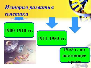 История развития генетики 1900-1910 гг. 1911-1953 гг. 1953 г. по настоящее время