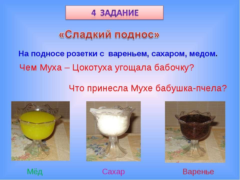 На подносе розетки с вареньем, сахаром, медом. Чем Муха – Цокотуха угощала ба...