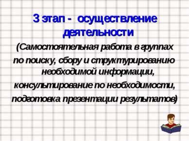 3 этап - осуществление деятельности (Самостоятельная работа в группах по поис...