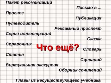 Пакет рекомендаций Письмо в ... Прогноз Публикация Путеводитель Рекламный про...