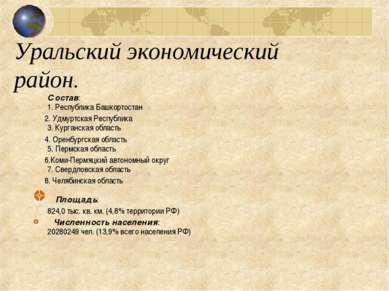 Уральский экономический район. Состав: 1. Республика Башкортостан 2. Удмуртск...