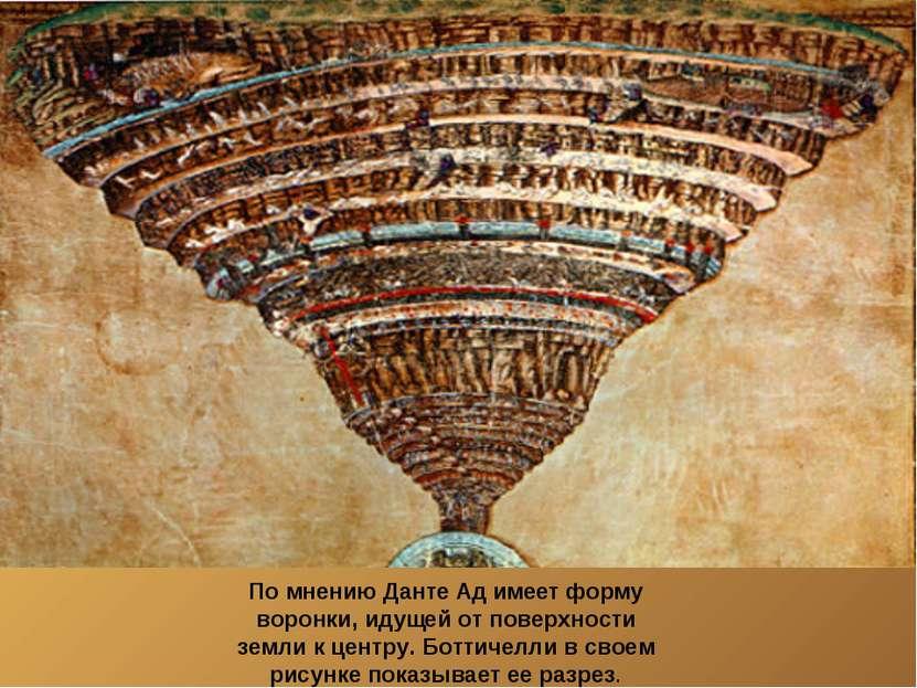 По мнению Данте Ад имеет форму воронки, идущей от поверхности земли к центру....