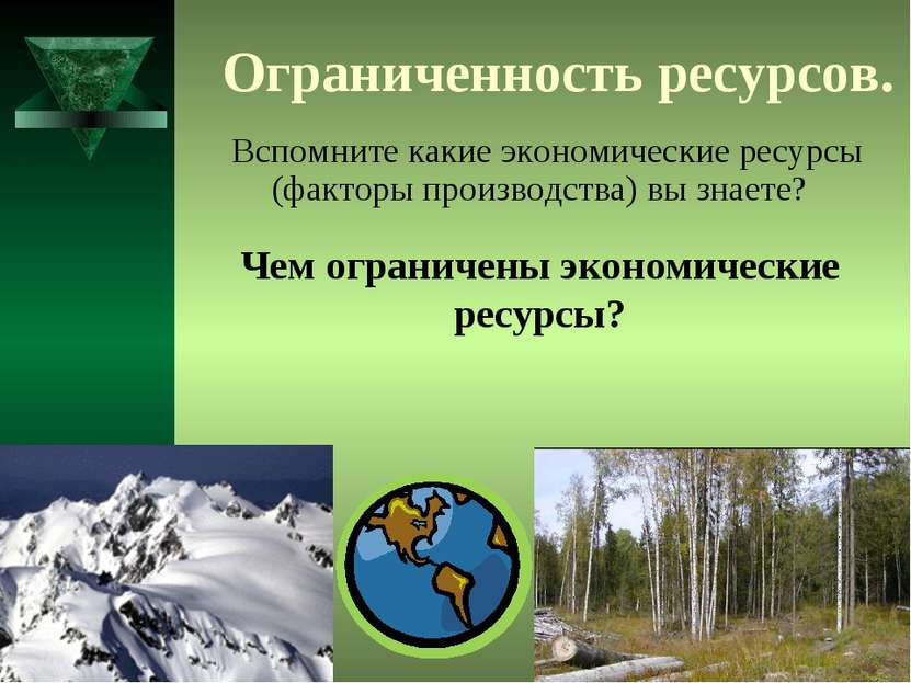 Ограниченность ресурсов. Вспомните какие экономические ресурсы (факторы произ...