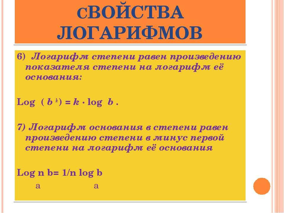 СВОЙСТВА ЛОГАРИФМОВ 6) Логарифм степени равен произведению показателя степен...